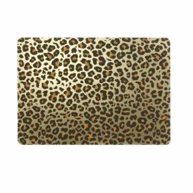10x tafel placemats/onderleggers met gouden tijgerprint 30 x 45 cm
