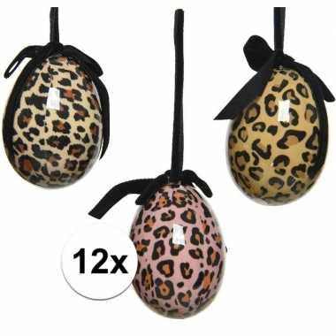 12x foute tijgerprint/tijgerprint paaseieren decoraties 6 cm nel tijg