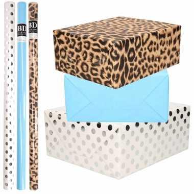 12x rollen kraft inpakpapier/folie pakket tijgerprint/blauw/wit met zilveren stippen 200 x 70 cm