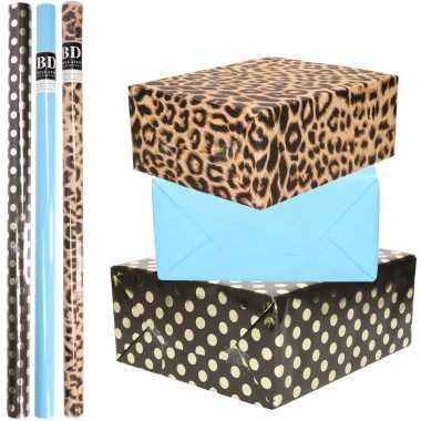 12x rollen kraft inpakpapier/folie pakket tijgerprint/blauw/zwart met gouden stippen 200 x 70 cm