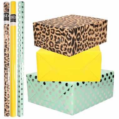 12x rollen kraft inpakpapier/folie pakket tijgerprint/geel/mintgroen zilver stippen 200 x 70 cm