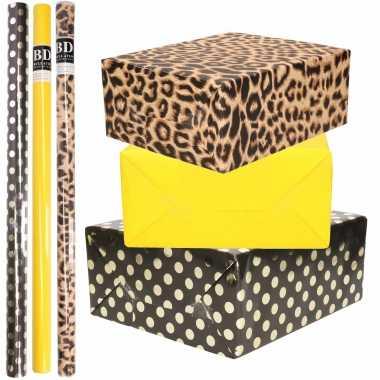 12x rollen kraft inpakpapier/folie pakket tijgerprint/geel/zwart met gouden stippen 200 x 70 cm