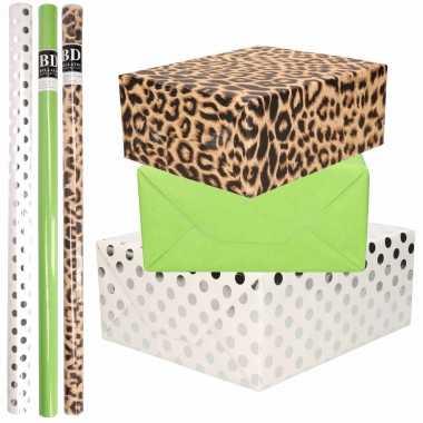 12x rollen kraft inpakpapier/folie pakket tijgerprint/groen/wit met zilveren stippen 200 x 70 cm