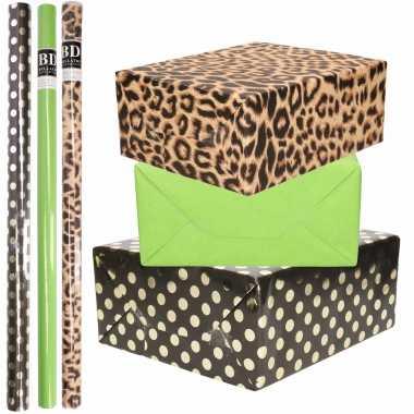 12x rollen kraft inpakpapier/folie pakket tijgerprint/groen/zwart met gouden stippen 200 x 70 cm
