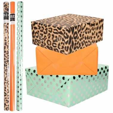 12x rollen kraft inpakpapier/folie pakket tijgerprint/oranje/mintgroen zilver stippen 200 x 70 cm
