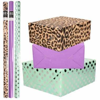 12x rollen kraft inpakpapier/folie pakket tijgerprint/paars/mintgroen zilver stippen 200 x 70 cm