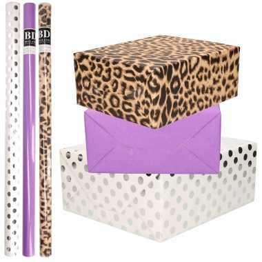 12x rollen kraft inpakpapier/folie pakket tijgerprint/paars/wit met zilveren stippen 200 x 70 cm