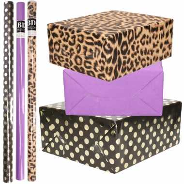 12x rollen kraft inpakpapier/folie pakket tijgerprint/paars/zwart met gouden stippen 200 x 70 cm