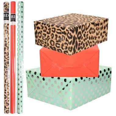 12x rollen kraft inpakpapier/folie pakket tijgerprint/rood/mintgroen zilver stippen 200 x 70 cm