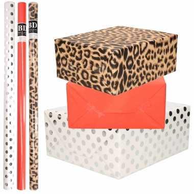 12x rollen kraft inpakpapier/folie pakket tijgerprint/rood/wit met zilveren stippen 200 x 70 cm