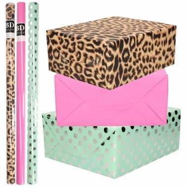 12x rollen kraft inpakpapier/folie pakket tijgerprint/roze/mintgroen zilver stippen 200 x 70 cm