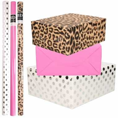 12x rollen kraft inpakpapier/folie pakket tijgerprint/roze/wit met zilveren stippen 200 x 70 cm