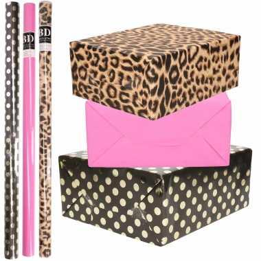 12x rollen kraft inpakpapier/folie pakket tijgerprint/roze/zwart met gouden stippen 200 x 70 cm