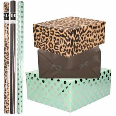 12x rollen kraft inpakpapier/folie pakket tijgerprint/zwart/mintgroen zilver stippen 200 x 70 cm