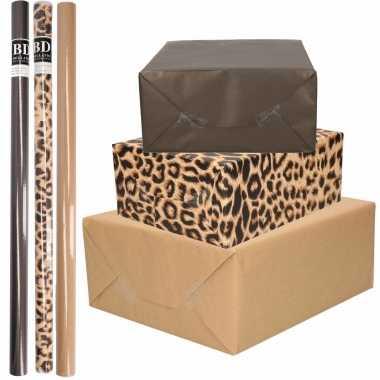 12x rollen kraft inpakpapier/kaftpapier pakket bruin/zwart/tijgerprint 200 x 70 cm