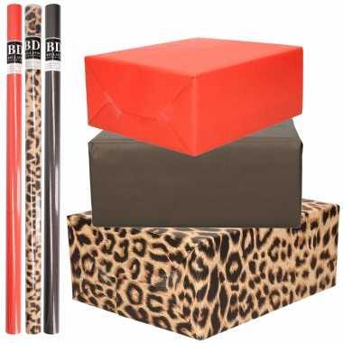 12x rollen kraft inpakpapier pakket tijger/tijger thema 200 x 70 cm
