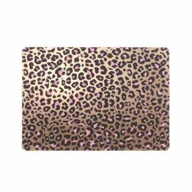 12x tafel placemats/onderleggers met bronzen tijgerprint 30 x 45 cm