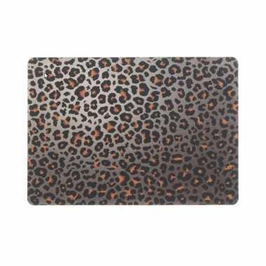 12x tafel placemats/onderleggers met bruine tijgerprint 30 x 45 cm