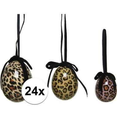 24x foute tijgerprint/tijgerprint paaseieren decoraties 4 5 6 cm nel