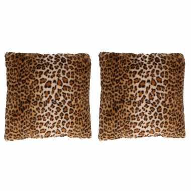 2x decoratie kussens dierenprint tijger 45 x 45 cm