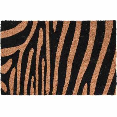 2x dieren tijger/zebra opdruk deurmat/buitenmat kokos 39 x 59 cm