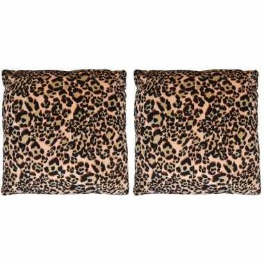 2x sierkussentjes met tijger print 45 cm
