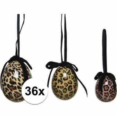 36x foute tijgerprint/tijgerprint paaseieren decoraties 4 5 6 cm nel