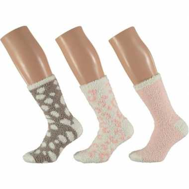 3x roze/witte tijger huissokken/slofsokken voor dames