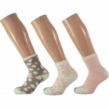 3x roze/witte tijger huissokken/slofsokken voor meisjes