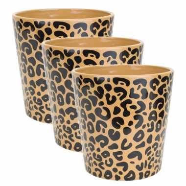 3x stuks bloempotten keramiek/aardewerk voor kamerplant tijger print d13 x h13 cm