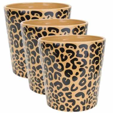 3x stuks bloempotten keramiek/aardewerk voor kamerplanten tijger print d11 x h11 cm