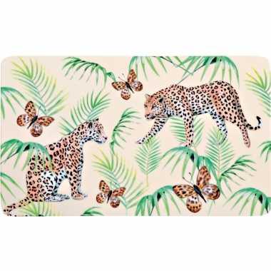 4x rechthoekige kunststof bordjes/plankjes met tijger/tijger print voor kinderen