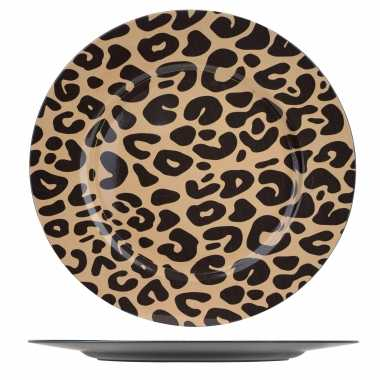 4x ronde kerstdiner/diner borden/onderborden tijgerprint 33 cm