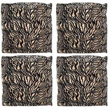 4x sierkussentjes met tijger print 45 cm