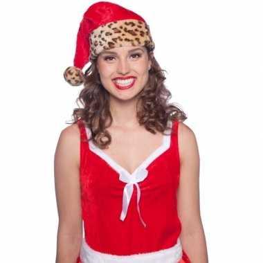 4x stuks dames en heren kerstmutsen met tijgerprint