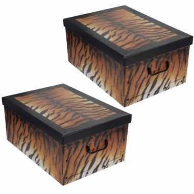 4x stuks opbergdoos/opberg box van karton met tijgerprint 51 x 37 x 24 cm