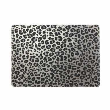 4x tafel placemats/onderleggers met zilveren tijgerprint 30 x 45 cm