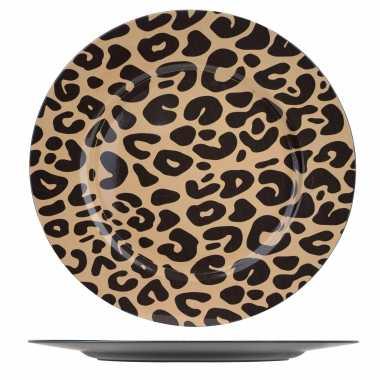 6x ronde kerstdiner/diner borden/onderborden tijgerprint 33 cm