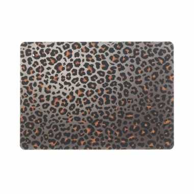 6x tafel placemats/onderleggers met bruine tijgerprint 30 x 45 cm