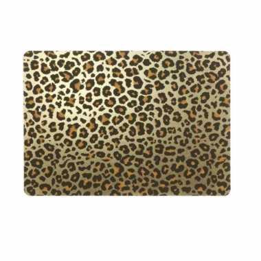 6x tafel placemats/onderleggers met gouden tijgerprint 30 x 45 cm