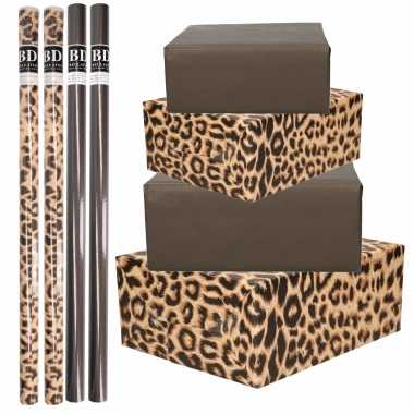 8x rollen kraft inpakpapier pakket tijger/tijger print zwart 200 x 70 cm