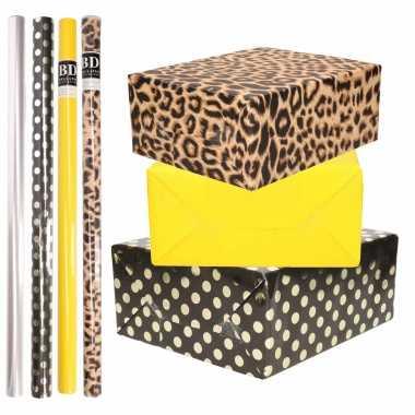 8x rollen transparante folie/inpakpapier pakket tijgerprint/geel/zwart met stippen 200 x 70 cm
