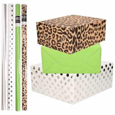 8x rollen transparante folie/inpakpapier pakket tijgerprint/groen/wit met stippen 200 x 70 cm