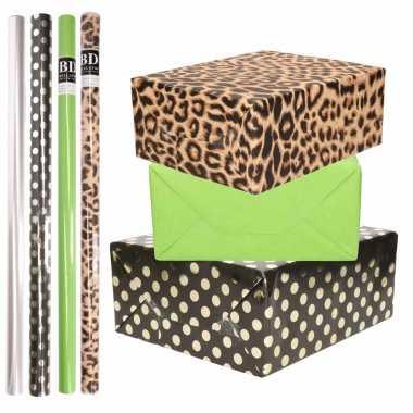 8x rollen transparante folie/inpakpapier pakket tijgerprint/groen/zwart met stippen 200 x 70 cm
