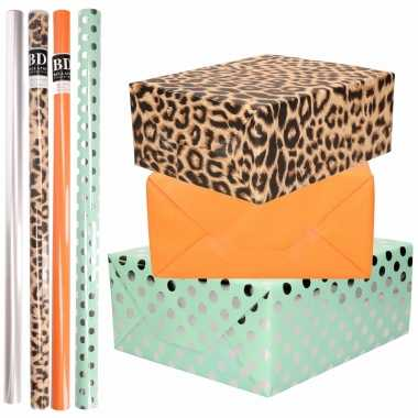 8x rollen transparante folie/inpakpapier pakket tijgerprint/oranje/mintgroen met stippen 200 x 70 cm