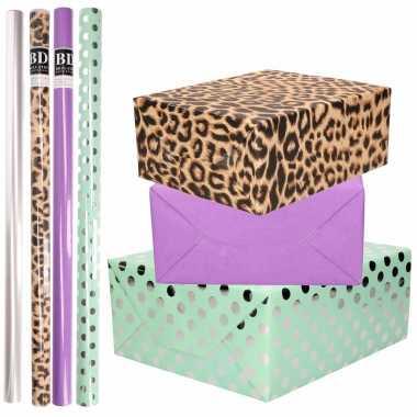 8x rollen transparante folie/inpakpapier pakket tijgerprint/paars/mintgroen met stippen 200 x 70 cm