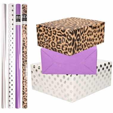 8x rollen transparante folie/inpakpapier pakket tijgerprint/paars/wit met stippen 200 x 70 cm