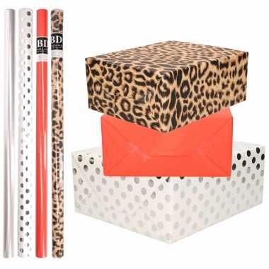 8x rollen transparante folie/inpakpapier pakket tijgerprint/rood/wit met stippen 200 x 70 cm