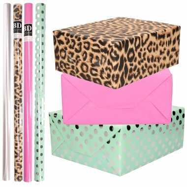 8x rollen transparante folie/inpakpapier pakket tijgerprint/roze/groen met stippen 200 x 70 cm