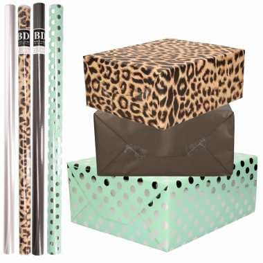 8x rollen transparante folie/inpakpapier pakket tijgerprint/zwart/mintgroen met stippen 200 x 70 cm